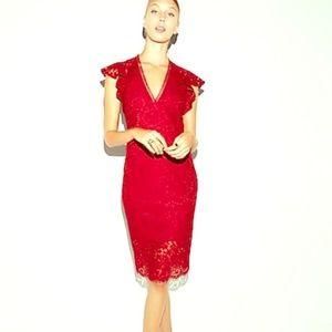 Express Red Lace VNeck Dress-Sz 6